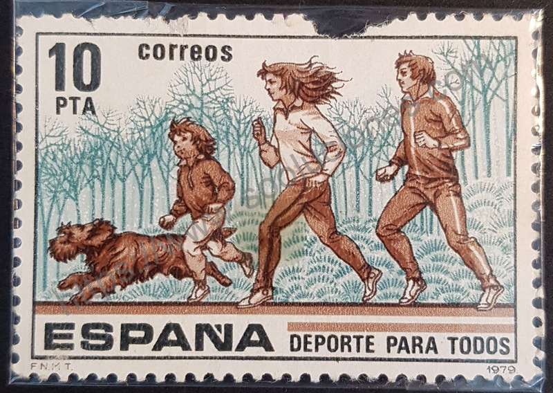 sello españa 1979 deportes jogging familiar