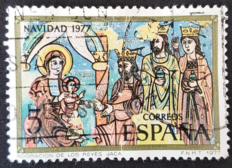 sello españa 1977 navidad adoracion reyes