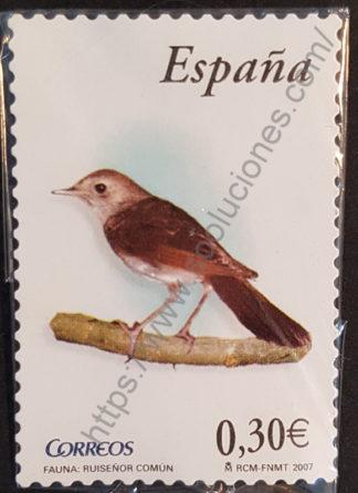 Ruiseñor común sello postal España 2007