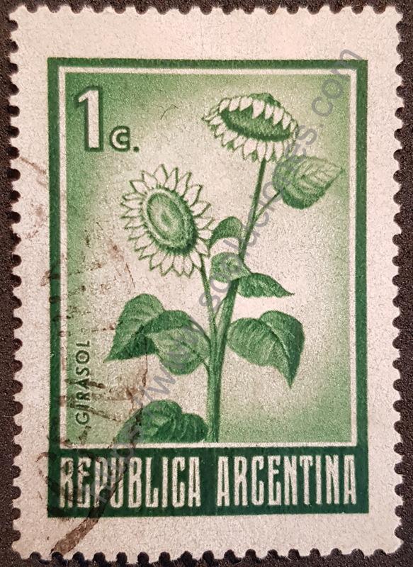 sello argentina 1971 girasol