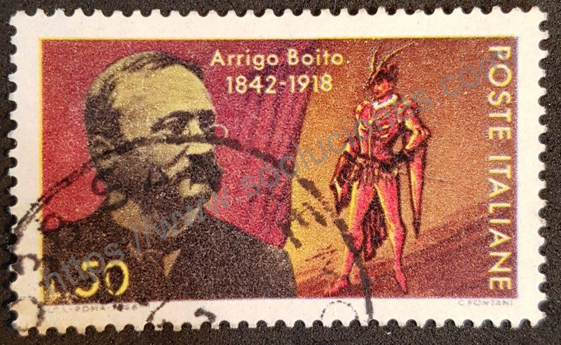 00910 sello italia 1968 aniv muerte arrigo boito