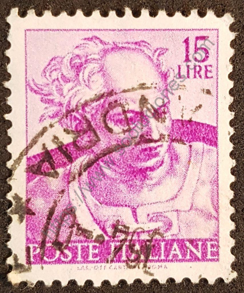 sello italia 1961 miguel angel obra