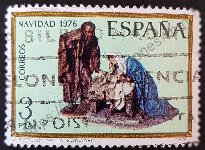 sello españa 1976 misterio de la navidad