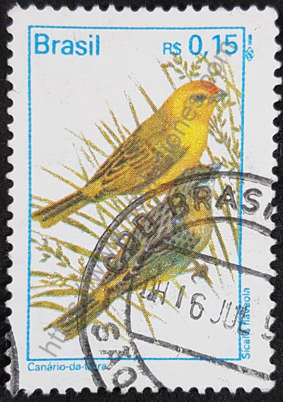 Sello-Brasil-1995-Canario-de-tierra