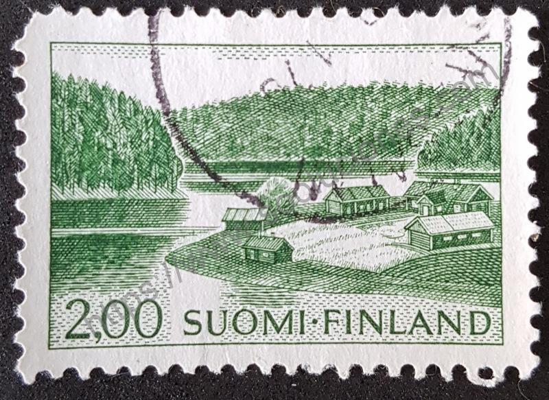 Estampilla-Finlandia-1964-casa-en-el-lago