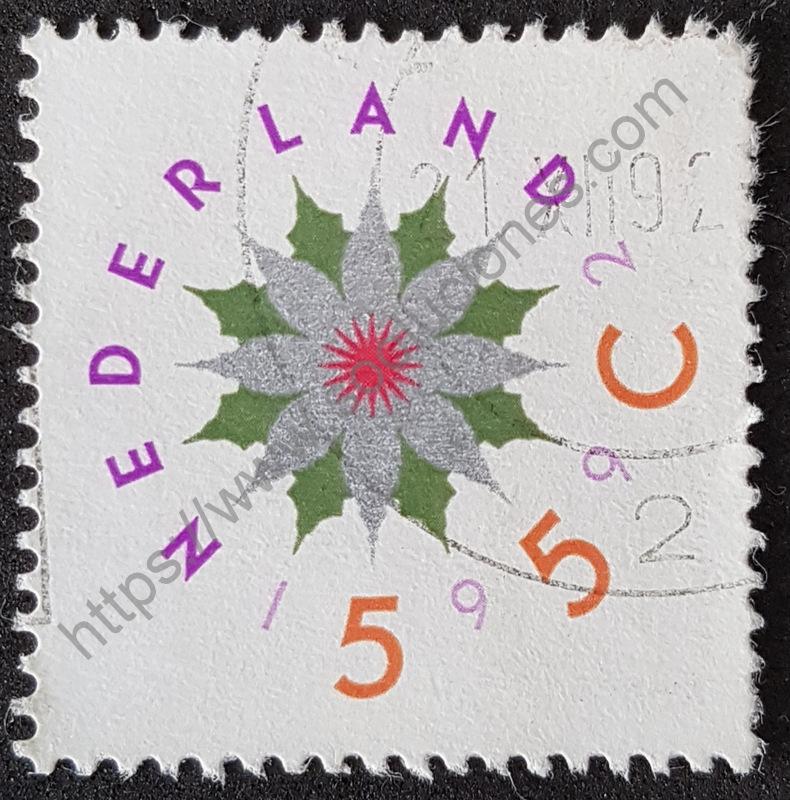 Sello-Holanda-1992-flor-de-navidad