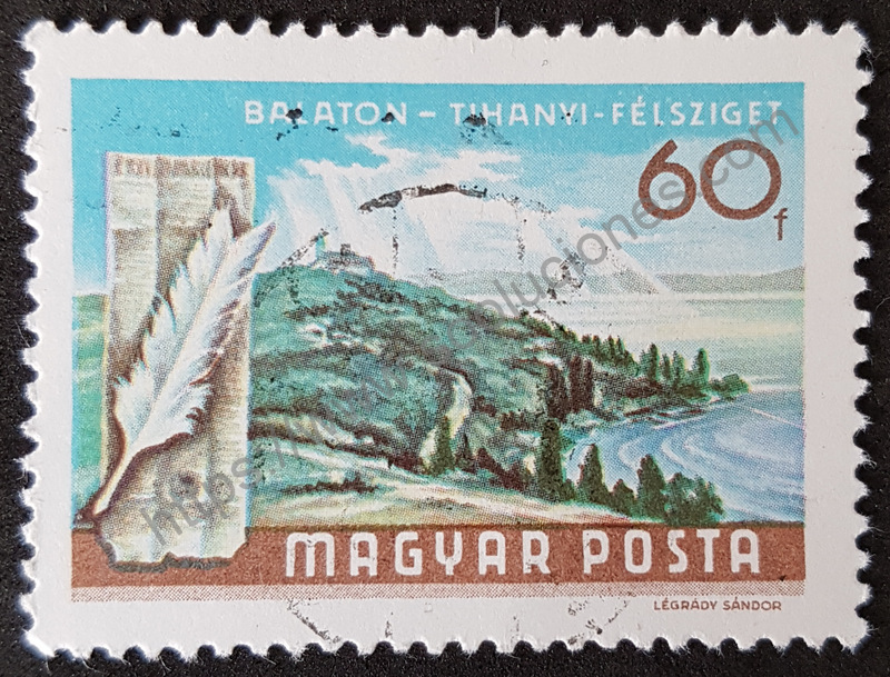 Sello-Hungria-1968-Peninsula-Tihanyi