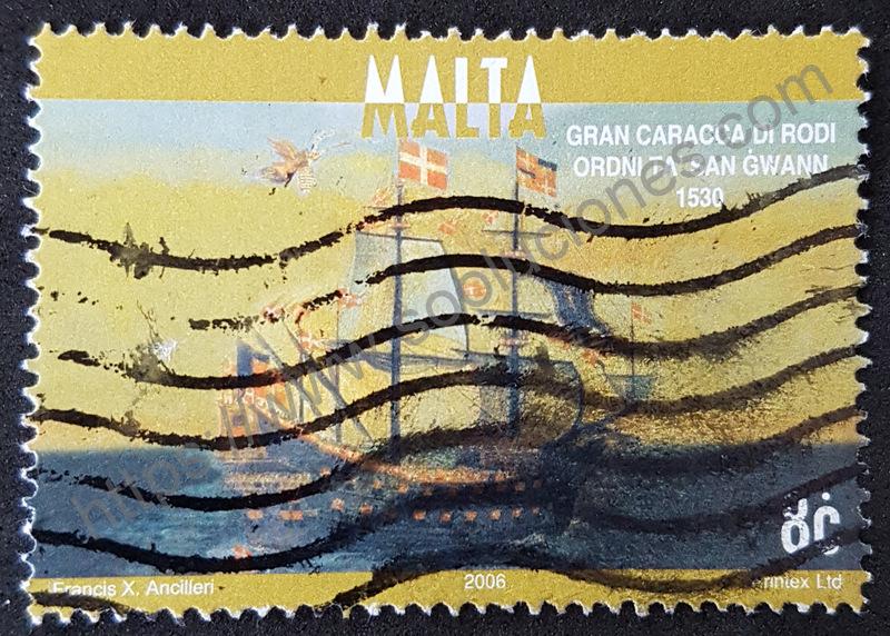 Estampilla-Malta-2006-Barco-Gran-Caracca-di-Rodi