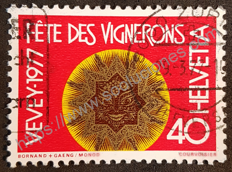Fiesta de Vevey viticultores estampilla Suiza 1977