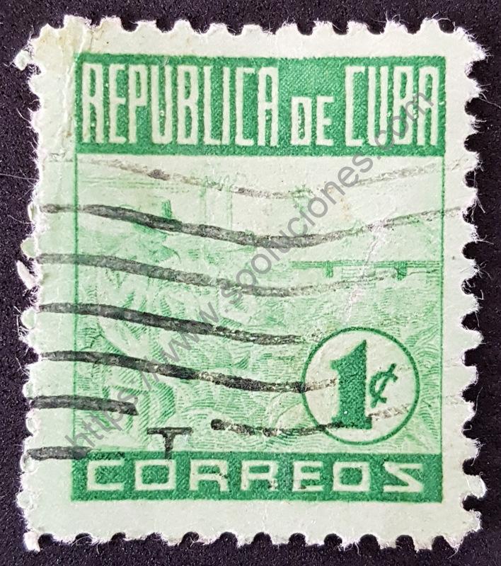 cultivo de Tabaco Estampilla de Cuba año 1950
