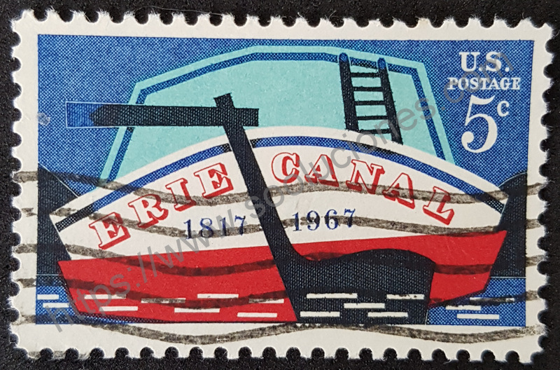 Canal Erie 150 aniversario sello de correos de 1967