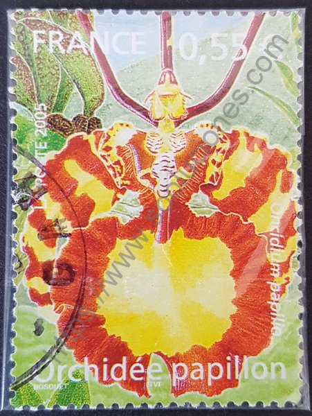 Orquídea mariposa sello Francia año 2005