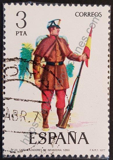 Sello de España año 1977 Cabo II de infantería cazadores 1860