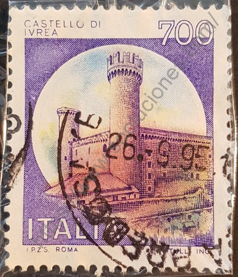 Sello Castillo de Ivrea Italia 1980. Serie Castillos