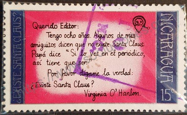 Sello de Nicaragua navidad de 1973 carta de niña