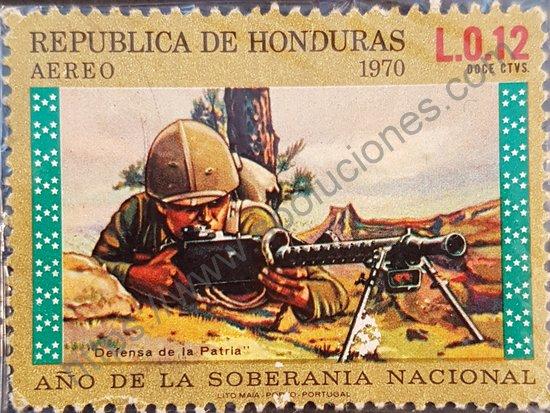 Sello Honduras 1972 Soldado con ametralladora