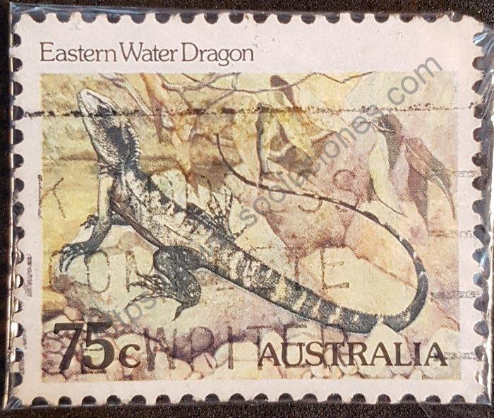 Estampilla de Dragón de Agua australiano año 1982.