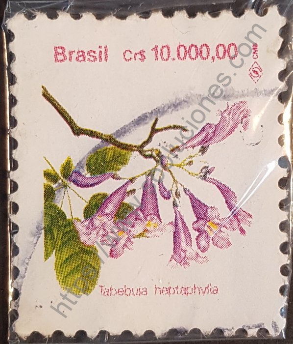 Estampilla de flor de Lapacho Brasil año 1992