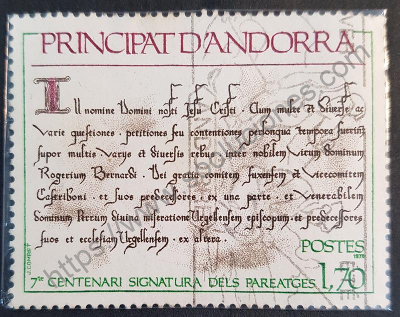 700 años del 1er pariatge de Andorra. Estampilla conmemorativa