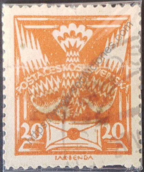 Sello de Checoslovaquia año 1921 serie básica