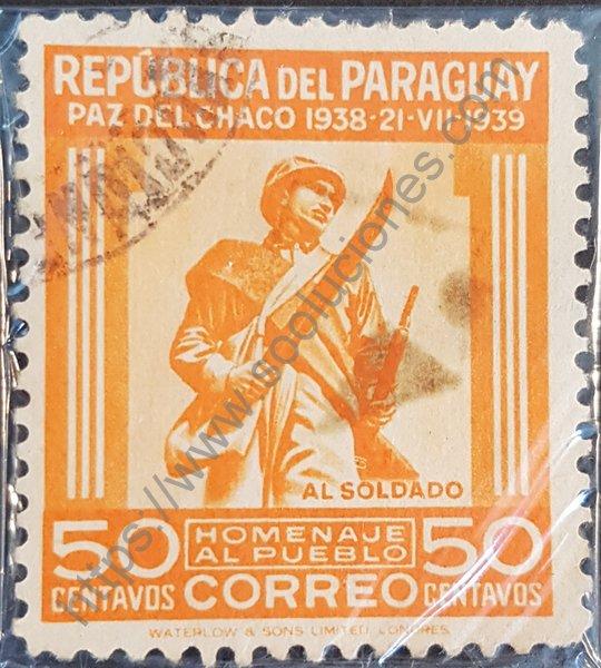 Sello de Paraguay 1940 homenaje al pueblo soldado