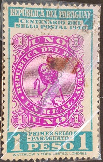 Sello: Centenario 1er. sello postal Paraguay 1840