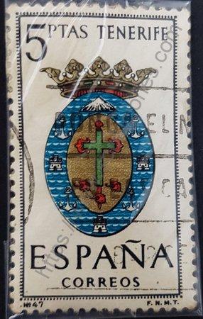 Escudo Tenerife estampilla de 1965 valor 5 pesetas