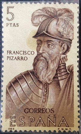 Estampilla Francisco Pizarro España año 1964 valor 5 ptas.