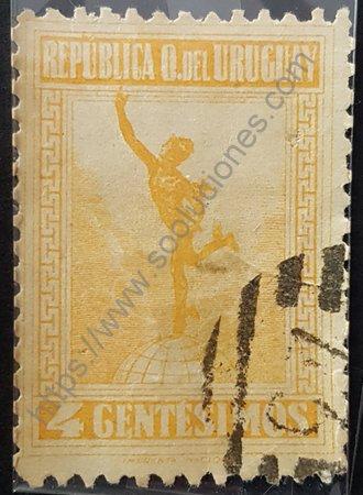 Estampilla Mercurio de Giambologna Uruguay 1921
