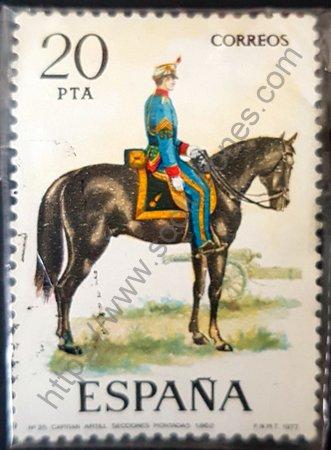 Capitán artillería 1862 sello España año 1977