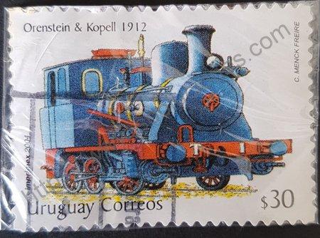 Estampilla locomotora Uruguay 2004 Orenstein & Koppel año 1912