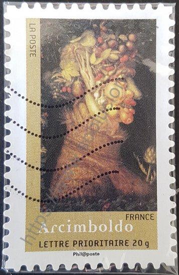 """Pintura """"Summer"""" de Arcimboldo. Sello de Francia año 2008."""