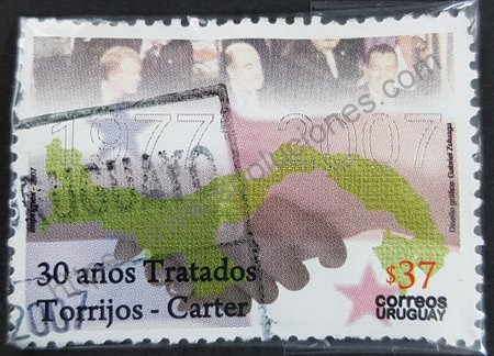 Estampilla de Uruguay aniversario tratado Torrijos-Carter