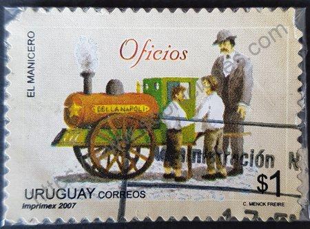 Estampilla El Manicero Uruguay 2006 valor $1