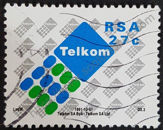 Estampilla Sudáfrica 1991 Telkom telecomunicaciones