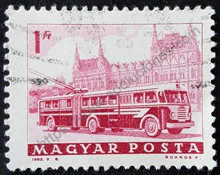 Sello trolebús Hungría 1963 medios de transporte