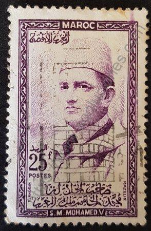Estampilla Marruecos 1957 Rey Mohammed V