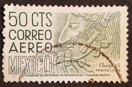 Sello Arqueología de México Chiapas valor 50 cts.