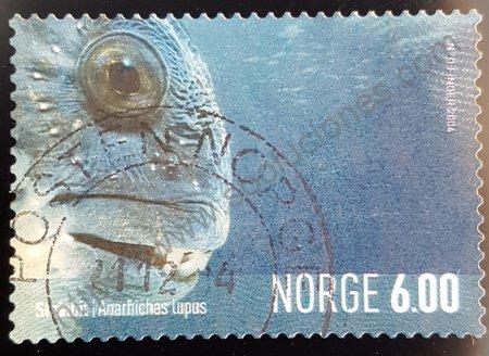 """Sello de Noruega Pez Lobo o """"Anarhichas"""" del año 2004"""