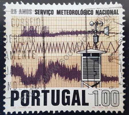 Estampilla Portugal 1971 SNM (Servicio Nacional Meteorológico) 25 aniversario.