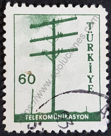 Estampilla de Turquía 1961 Poste de comunicaciones