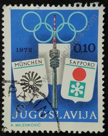 Sello de Yugoslavia 1972 Olimpiadas Munich Sapporo