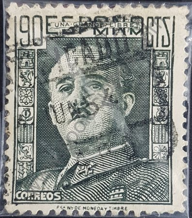 Estampilla de España año 1949 Franco Francisco valor 90 céntimos