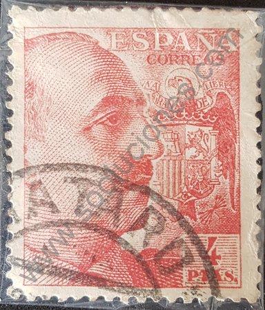 Estampilla Franco 1949 valor 4 pesetas España