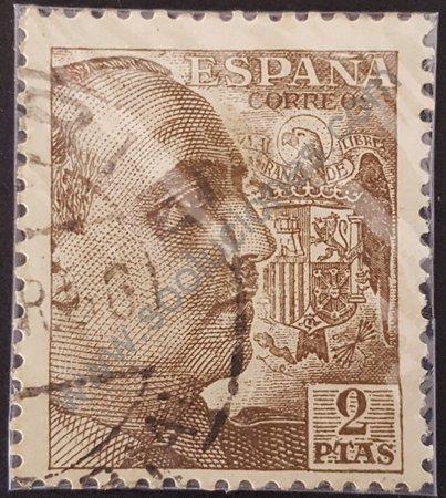 Estampilla General Franco España año 1950 2 ptas.