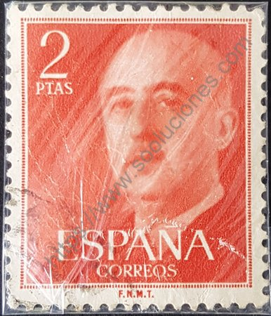 Filatelia: General Franco 1955 sello de España 2 ptas.
