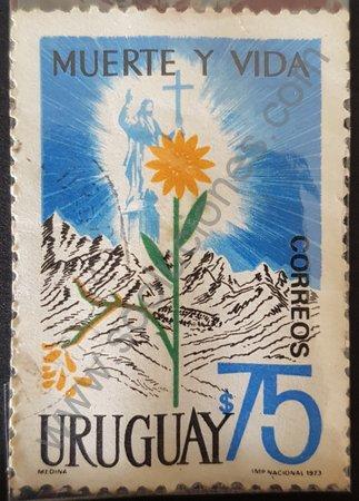 Tragedia de los Andes estampilla de Uruguay 1973
