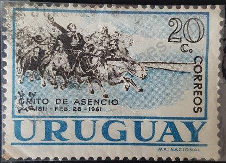 Estampilla de Uruguay Grito de Asencio 1961