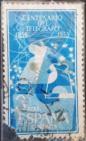Estampilla centenario telégrafo España 1955