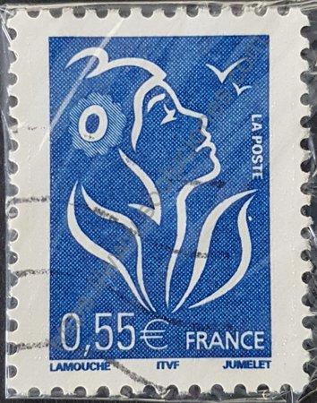 Estampilla de Francia 2005 Marianne Lamouche con valor facial 0.55 €.